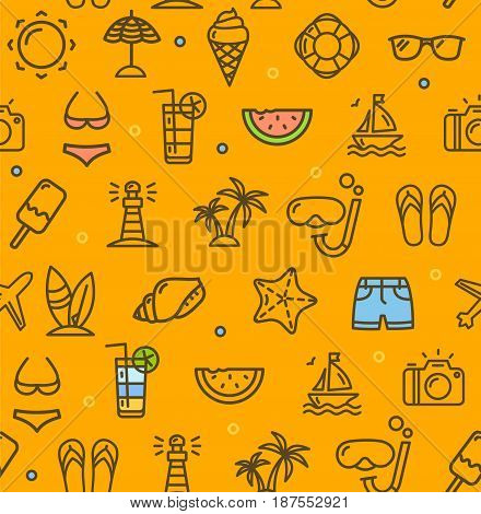 Summer Travel Recreation Holiday Pattern Background on a Yellow witch Outline Icons Symbol of Tourism, Vacation. Vector illustration