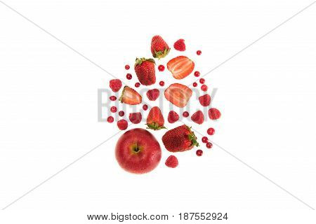 Different Organic Red Fruits And Berries Isolated On White With Copy Space
