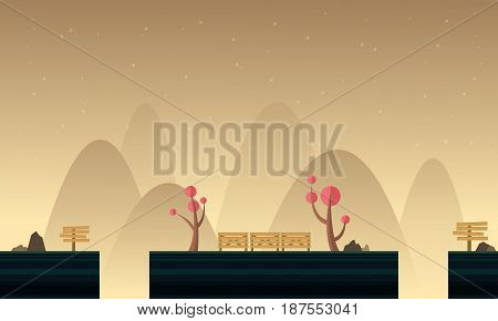 Collection stock game background with mountain scenery vector