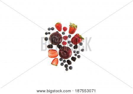 Different Organic Fruits And Berries Isolated On White With Copy Space