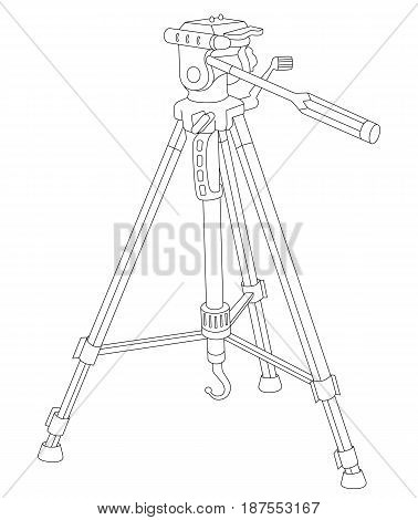 Vector illustration of tripod for camera and camcorder isolated on a white background. Can be used for graphic design, textile design or web design.