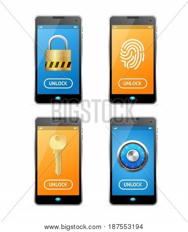 Unlock Screen Concept Mobile Ui Set Technology Private Access Authorization Touch Display. Vector illustration