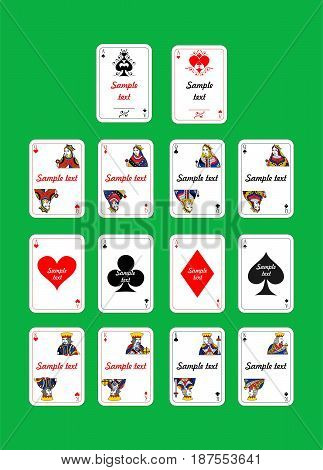 set of beautiful designer playing cards for sample text.