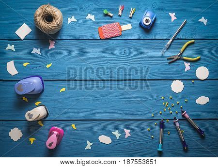 Tools For Scrapbooking On Wooden Boards