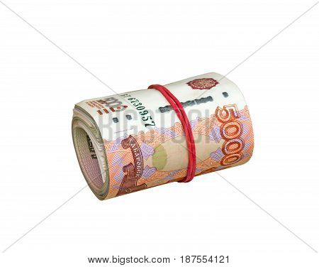 Bundle of Russian paper money banknotes isolated on white background