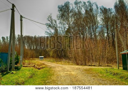 Holiday village in Russia in spring, Tula oblast