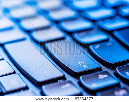 Using keyboard. Closeup view of keyboard. Social ussue.