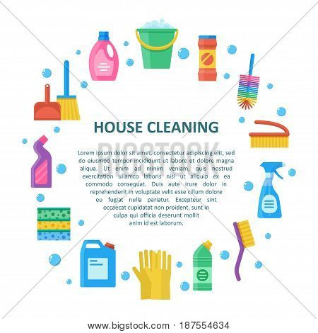 House cleaning vector banner in a flat style. Cleaning and washing household tools and liquids.