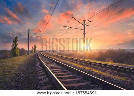 Railroad And Beautiful Sky At Sunset