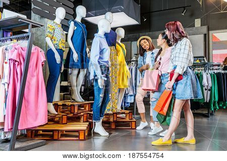 Multicultural Hipster Girls With Shopping Bags In Shopping Mall, Friends Shopping Concept