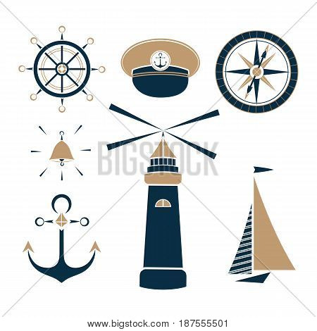 Set of marine objects wheel, captain's cap, lighthouse, sailfish, compass, ship bell anchor