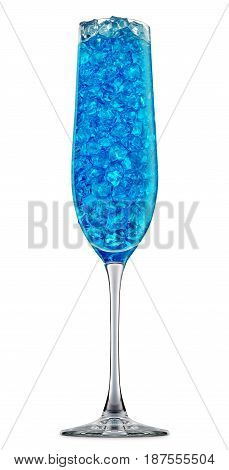 fresh fruit alcohol cocktail or mocktail in champagne glass with blue beverage and ice cubes isolated on white background