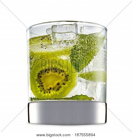 fresh fruit alcohol cocktail or mocktail in classic glass with ice cubes, kiwi and mint isolated on white background