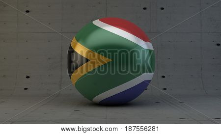 south africa flag sphere icon isolated in concrete room 3d render