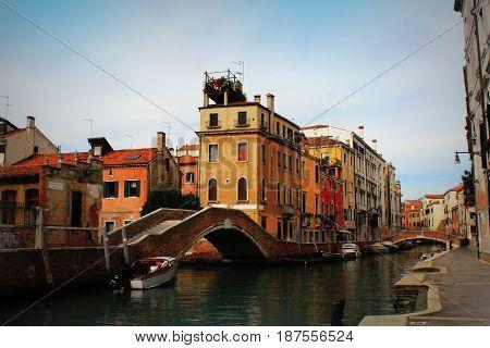 View of Fondamenta Briati bridge in Venice, Italy .