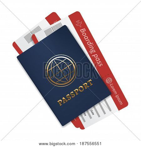 International passport with a blue cover and two air tickets. Realistic isolated illustration. Vector eps 10.
