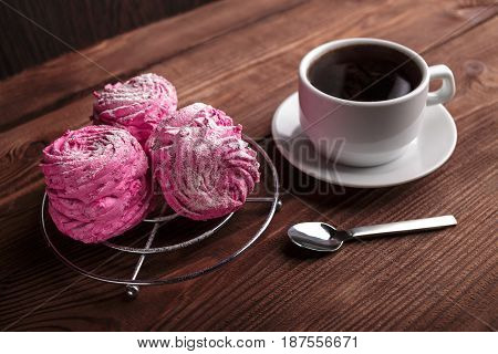 Black Coffee And Pink Zephyr. Marshmallow. Sweet Pink Marshmallow - Zephyr And Cup Of Coffee. Christ