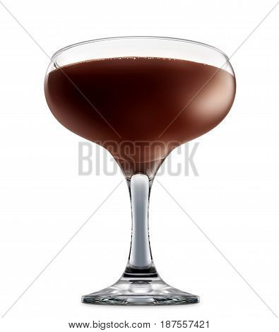 Original Irish Cream Liqueuron alcohol cocktail or chocolate mocktail in margarita glass with brown beverage isolated on white background