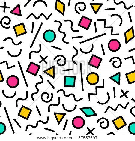 Black and white and colorful memphis abstract geometric shapes seamless pattern, vector background