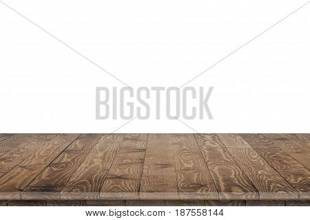 Rustic wooden table perspective. Large dinner empty wooden table perspective. Wooden table texture background. Wooden table perspective worktop. Empty wooden table perspective for product placement montage. Wooden table perspective. Wooden table surface.