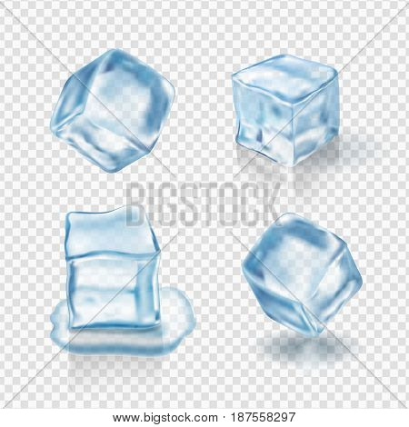 Transparent ice cubes in light blue colors. Realistic vector.