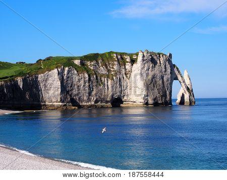 beautiful normandy - cliffs and beach étretat - france - may 2017