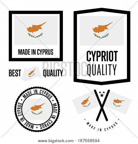 Cyprus quality isolated label set for goods. Exporting stamp with cypriot flag, nation manufacturer certificate element, country product vector emblem. Made in Cyprus badge collection.
