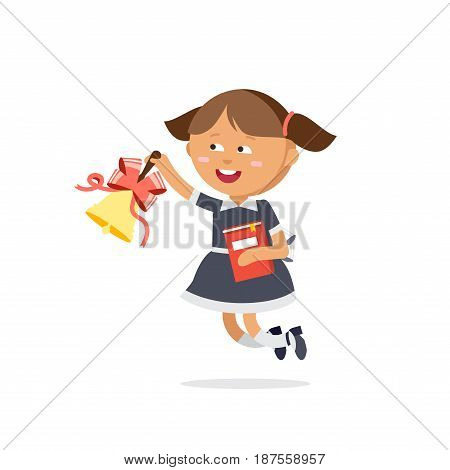 Pupil dressed in school uniforms are holding textbooks and with bell. Flat illustration of young girl ring the bell. Happy kid ready come back to school.
