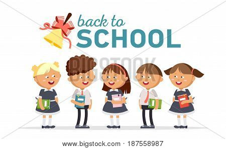 Group of elementary school students. Boys and girls dressed in school uniforms are holding textbooks. Happy pupils are jumping against a white background. Vector illustration in cartoon style