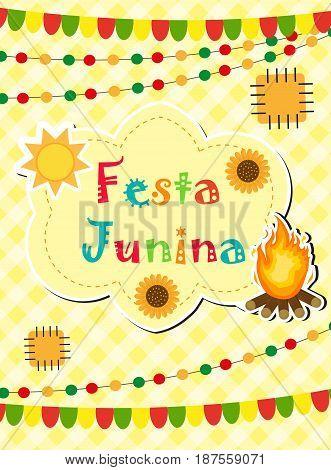 Festa Junina greeting card, invitation, poster. Brazilian Latin American festival template for your design.Vector illustration