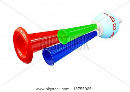 Colored whistle with the words