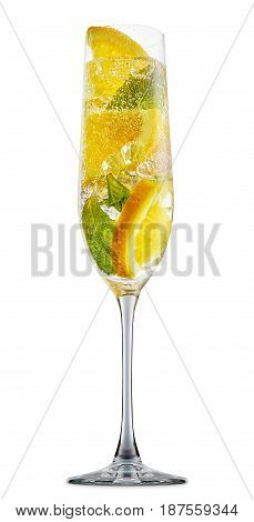 fresh fruit alcohol cocktail or mocktail in champagne glass with ice cubes, orange and mint isolated on white background