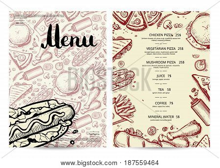 Hand drawn fast food restaurant menu. Vintage food design template, junk food card with snack linear sketches. Fast food vector illustration with pizza, sandwich, hot dog, chicken, drink doodles