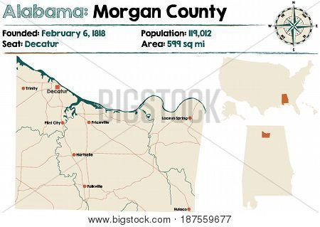 Large and detailed map of Morgan County in Alabama