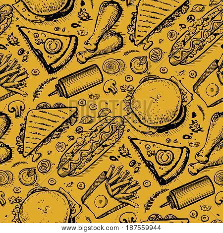 Fast food hand drawn vintage pattern. Restaurant or cafe menu cover with pizza, french fries, sandwich, hot dog doodles. Food design vector illustration template with snack linear sketches.