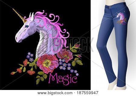 Fantasy Unicorn Embroidery Patch Sticker. Pink Violet Mane Horse Flower Arrange Poppy Rose On Blue W