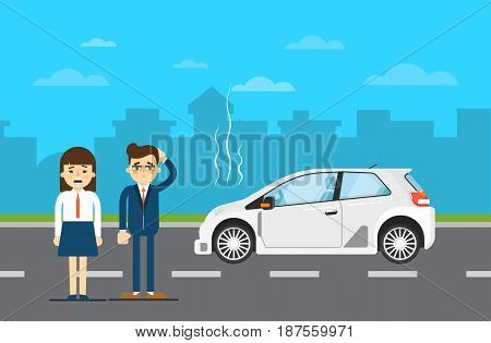 Car repairs banner with people couple standing near broken universal car on highway. Vector illustration for automobile repair service, auto assistance, car help. Road accident or car trouble