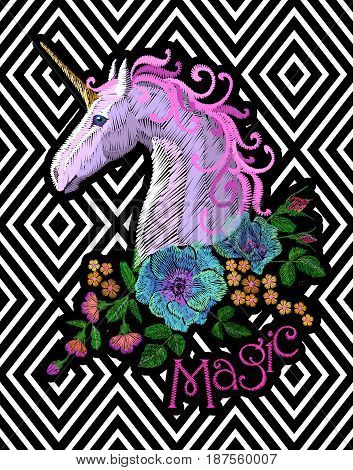 Fantasy Unicorn Embroidery Patch Sticker. Pink Violet Mane Horse Flower Arrange Poppy Rose On Geomet