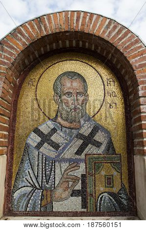 Mosaic of Saint Nicholas - Nicholas the Wonderworker in a Church of St Nicholas in Batumi, Georgia