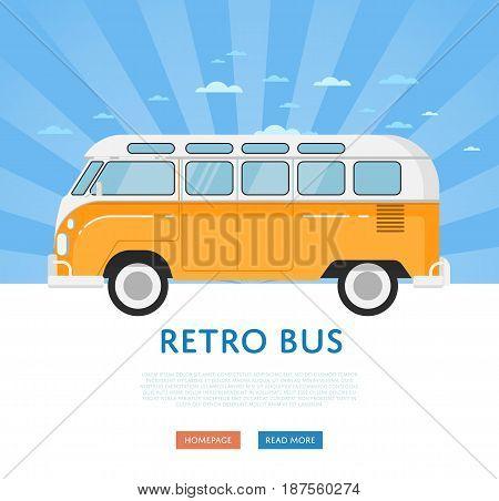 Website design with classic retro bus. Vintage public auto vehicle on blue striped background banner. Auto business, sale or rent transport online service vector illustration concept