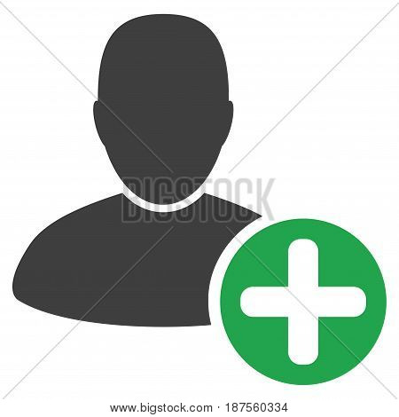 Add User flat vector pictograph. An isolated illustration on a white background.