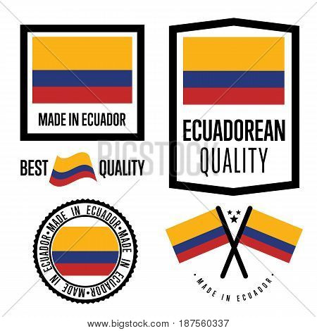 Ecuador quality isolated label set for goods. Exporting stamp with ecuadorean flag, nation manufacturer certificate element, country product vector emblem. Made in Ecuador badge collection.