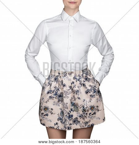 Girl in skirt and a white blouse,  white shirt on isolated white background