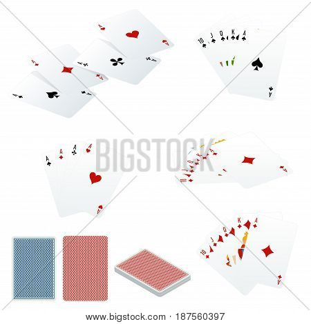 Poker set with isolated cards isolated on white background.