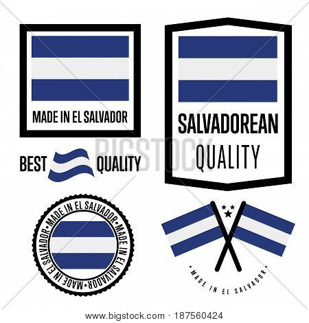 Salvador quality isolated label set for goods. Exporting stamp with salvadorean flag, nation manufacturer certificate element, country product vector emblem. Made in Salvador badge collection.