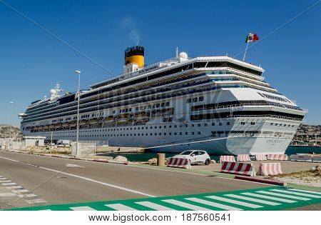 Costa Pacifica Costa Cruises - Marseille France - 08 May 2017: Costa Pacifica cruise ship docked in port of Marseille