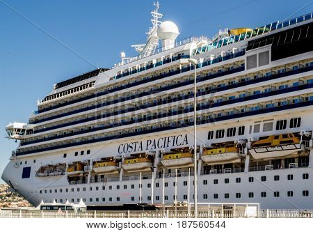 Costa Pacifica, Costa Cruises - Marseille, France - 08 May, 2017: Costa Pacifica cruise ship docked in port of Marseille