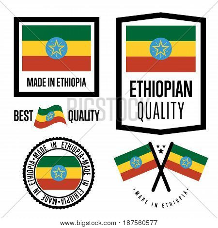 Ethiopia quality isolated label set for goods. Exporting stamp with ethiopian flag, nation manufacturer certificate element, country product vector emblem. Made in Ethiopia badge collection.