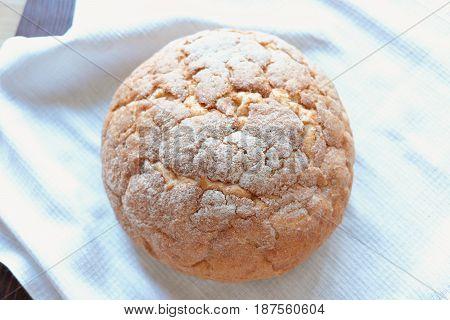 White round wheat bread fresh pastries tasty