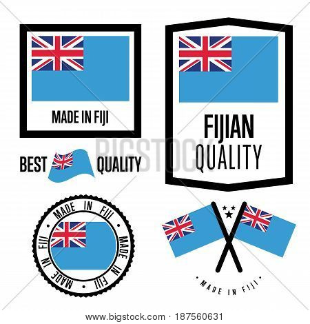 Fiji quality isolated label set for goods. Exporting stamp with fijian flag, nation manufacturer certificate element, country product vector emblem. Made in Fiji badge collection.